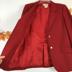 Vintage Nordstrom Wool Red Fitted Blazer Holidays